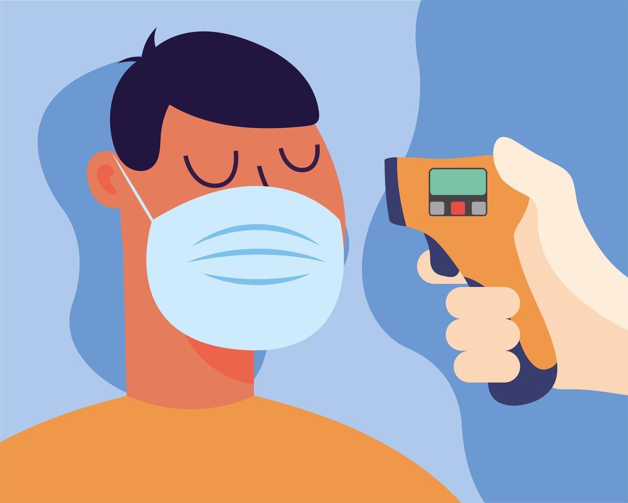 mão segurando a arma do termômetro, verificando o design do vetor de temperatura