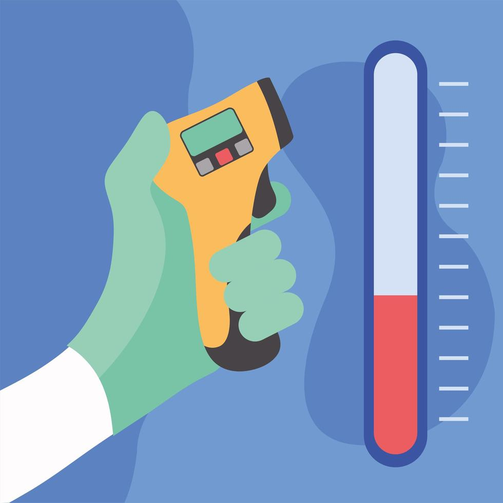 mão segurando design de arma de termômetro vetor