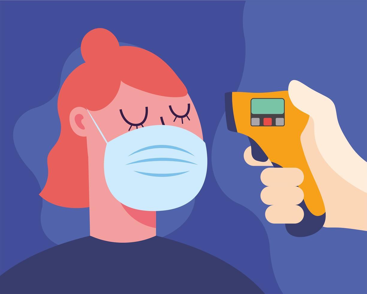 mão segurando uma arma de termômetro, verificando o desenho vetorial de temperatura da mulher vetor