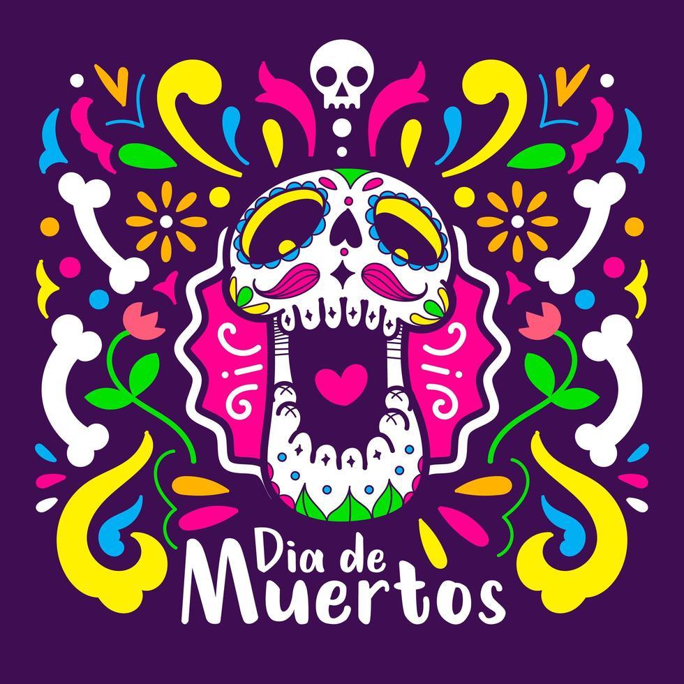 ilustração do pôster do dia de los muertos vetor