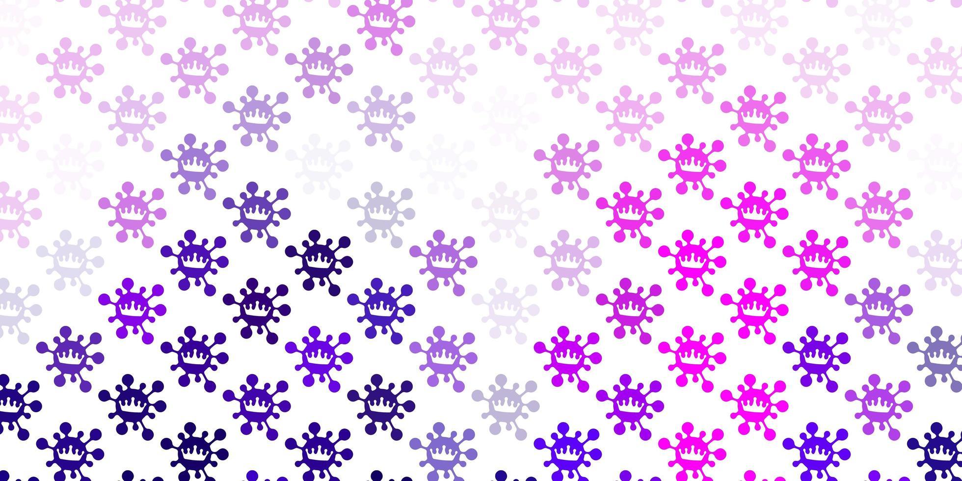 pano de fundo vector roxo claro com símbolos de vírus.