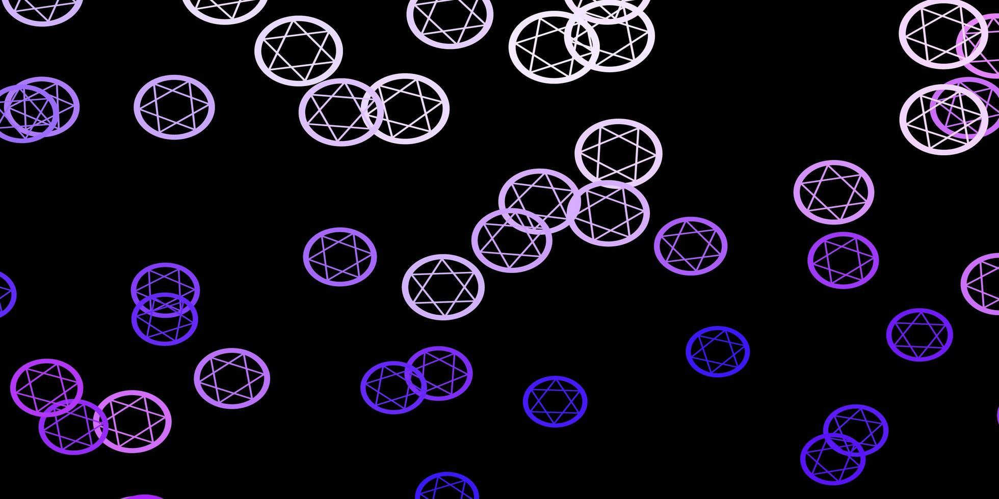 padrão de vetor roxo escuro com elementos mágicos.