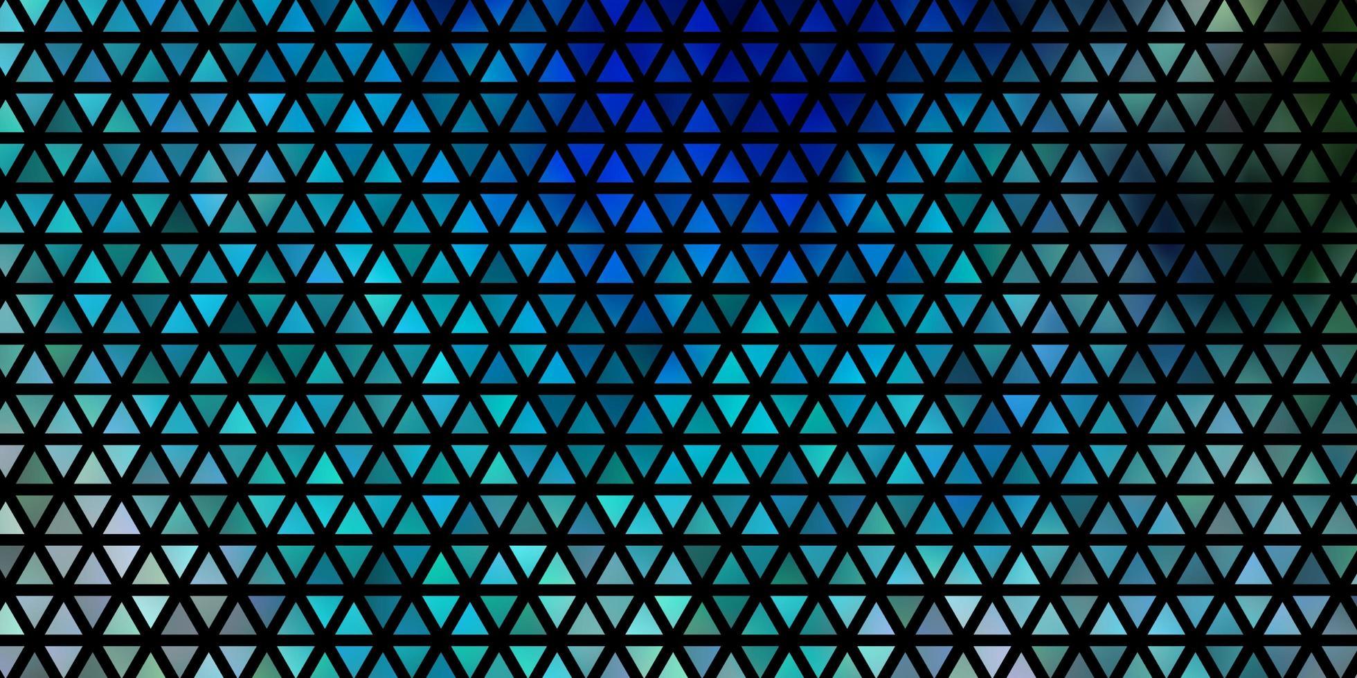 layout de vetor azul e verde claro com linhas, triângulos.