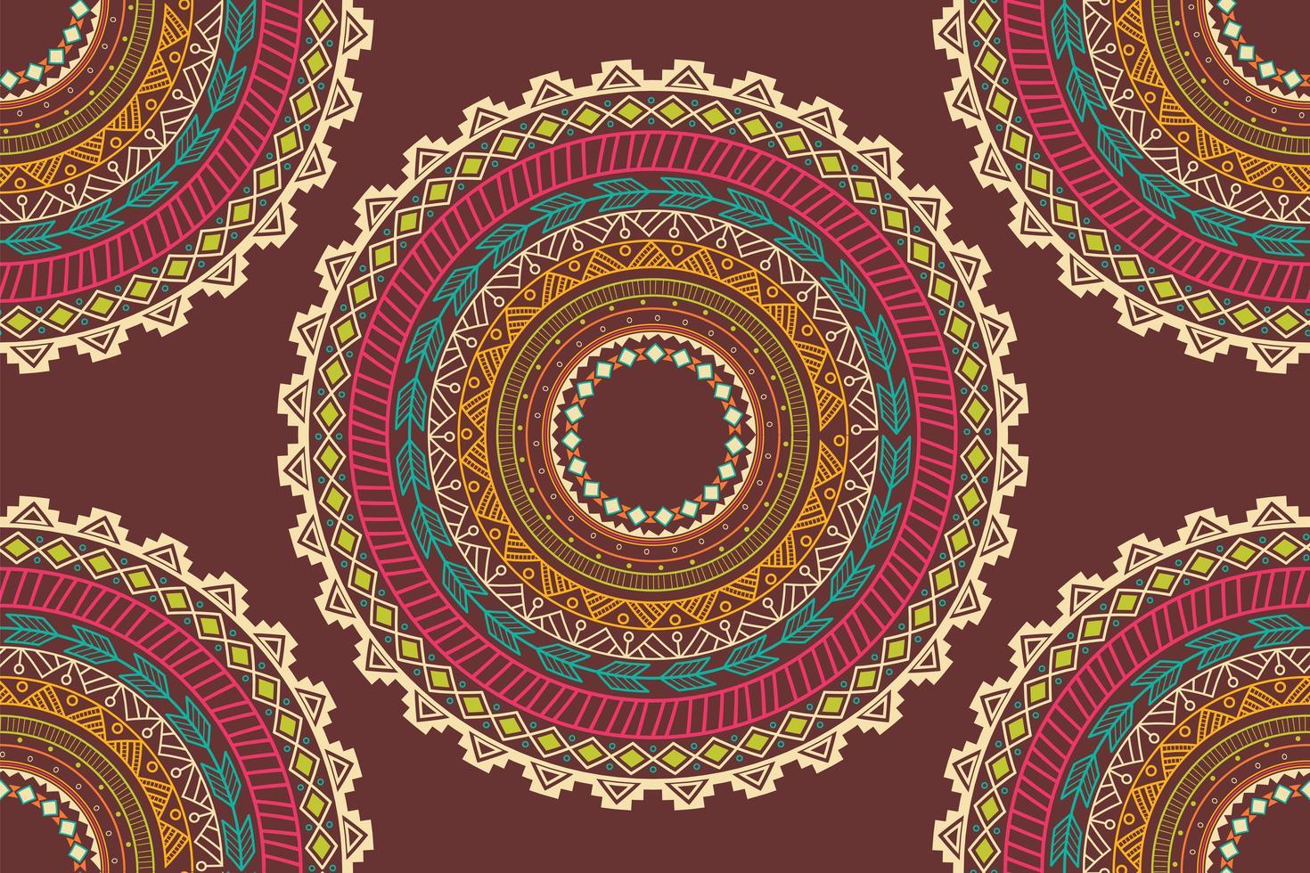 Padrão sem emenda de ornamento de círculo étnico asteca vetor