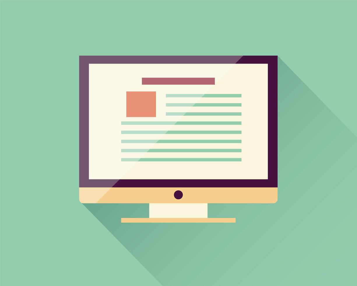 computador de ícone plano, dispositivo eletrônico, web design responsivo, elementos de infográfico vetor
