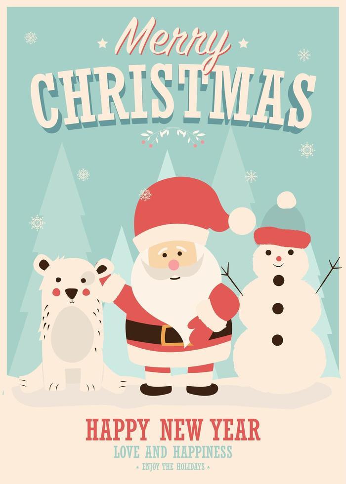 cartão de feliz natal com papai noel, boneco de neve e renas, paisagem de inverno vetor