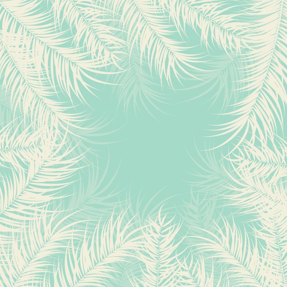 design tropical com folhas de palmeira e plantas sobre fundo verde vetor