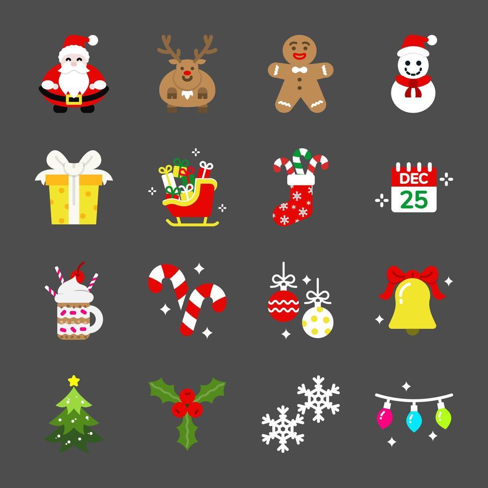 conjunto de ícones de natal vetor