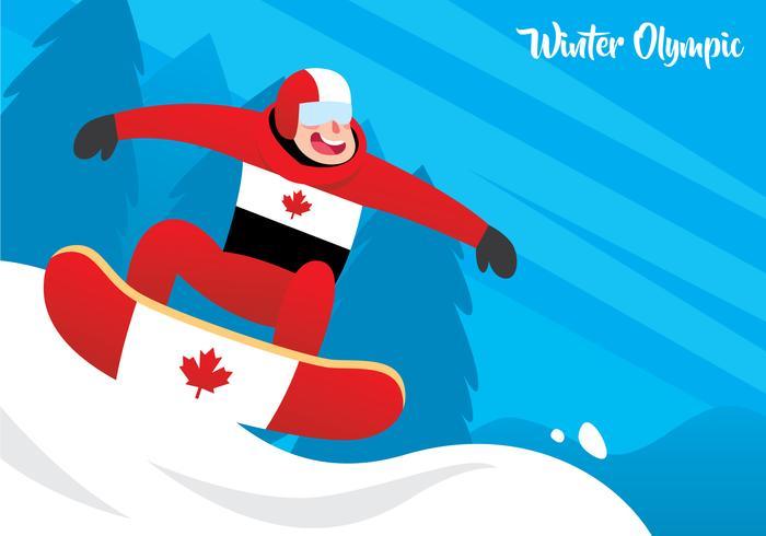 Snowboarder em ação vetor