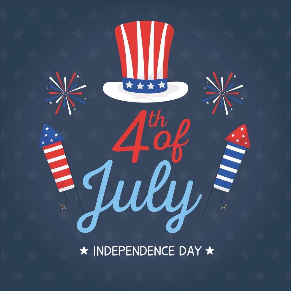 chapéu do dia da independência e design de vetor de fogos de artifício