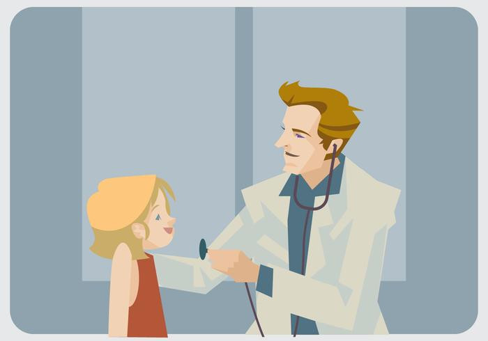 Vetor pediatra e menina Litle