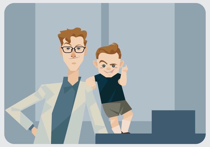 Vetor pediatra e menino bonito