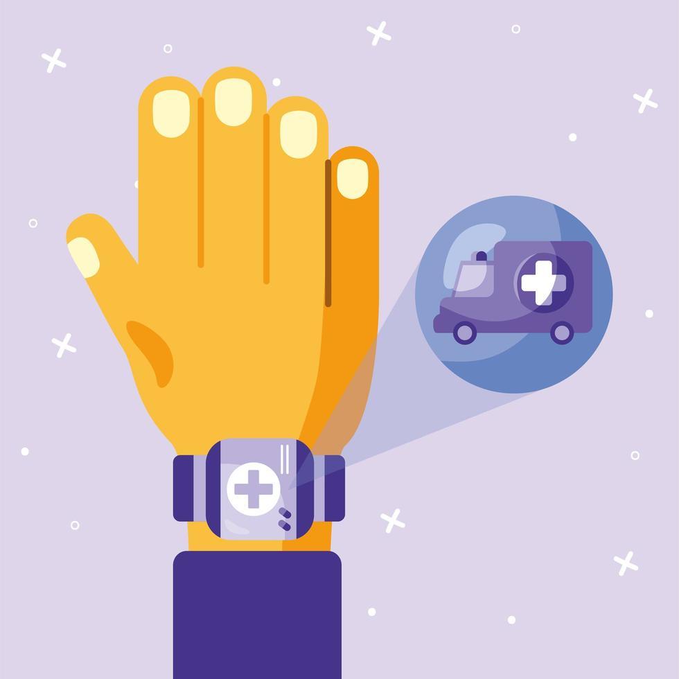 Mão de médico masculino online com desenho vetorial de smartwatch e ambulância vetor