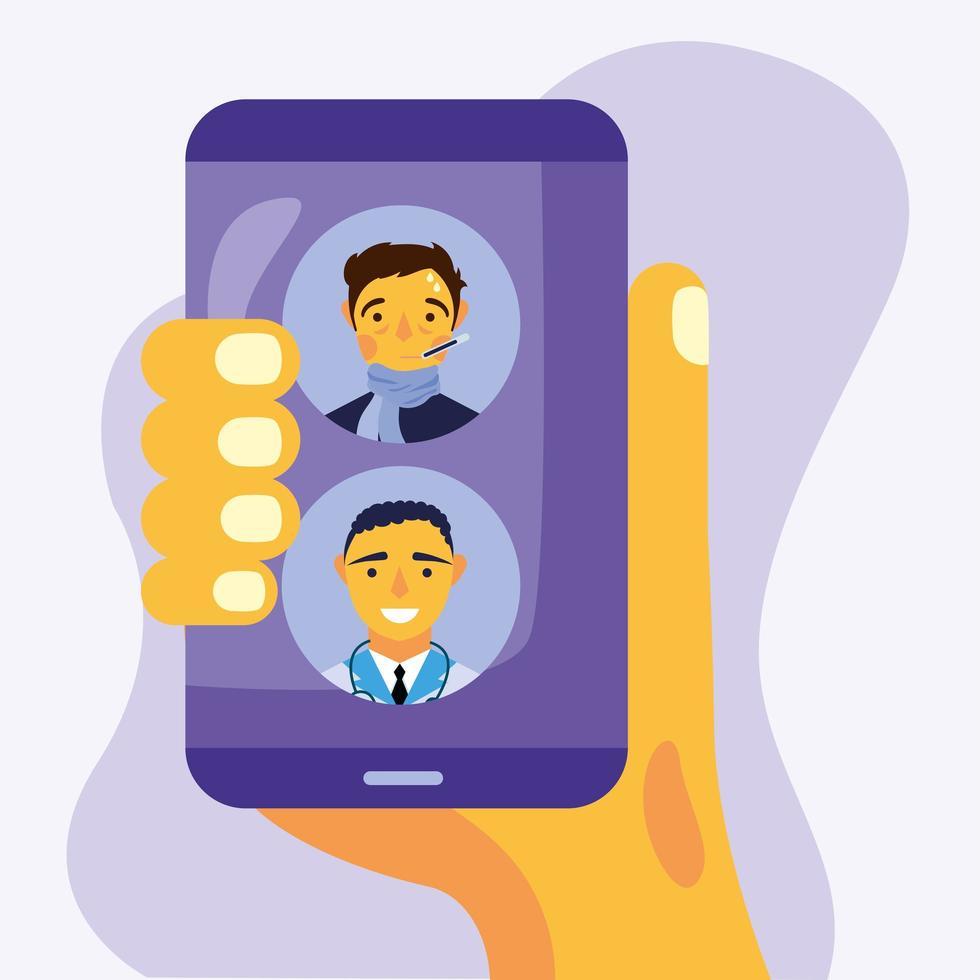 médico masculino online e cliente em design de vetor de smartphone