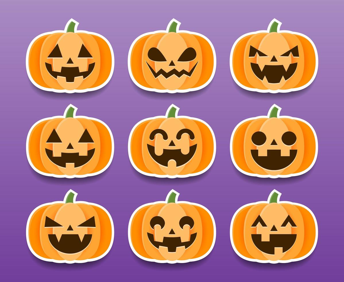 conjunto de adesivos de abóboras de halloween de desenho animado vetor