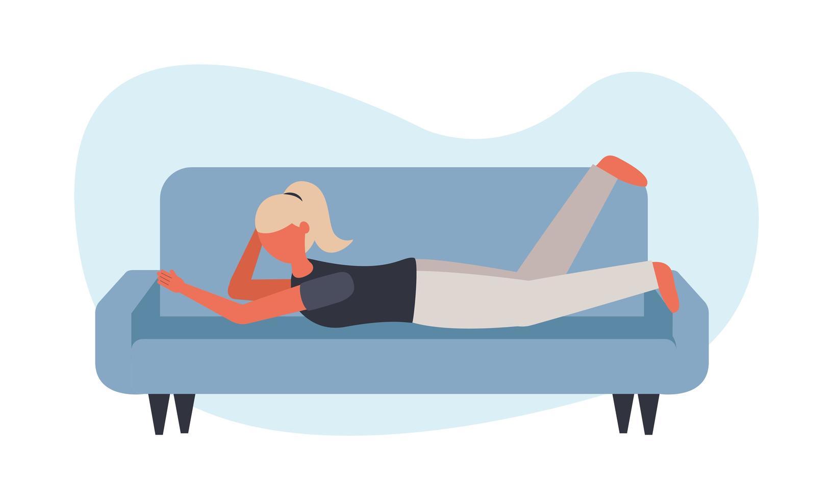 mulher no sofá em casa desenho vetorial vetor
