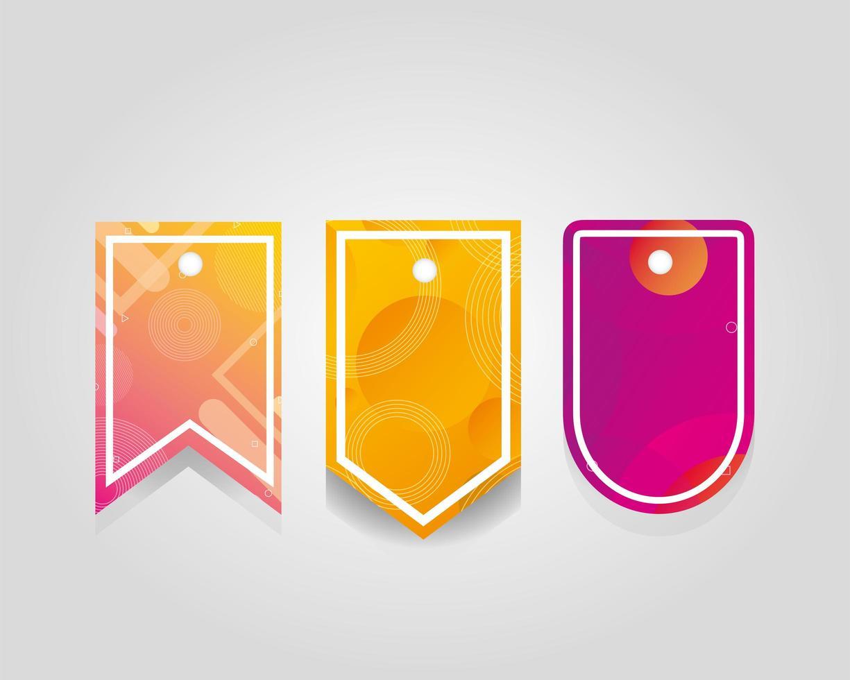etiquetas comerciais penduradas com cores vibrantes vetor