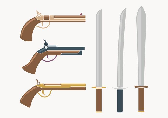 Coleção de armas do mosqueteiro vetor