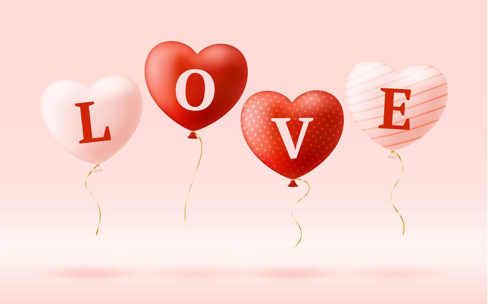 palavra de amor em balões de coração realistas vetor