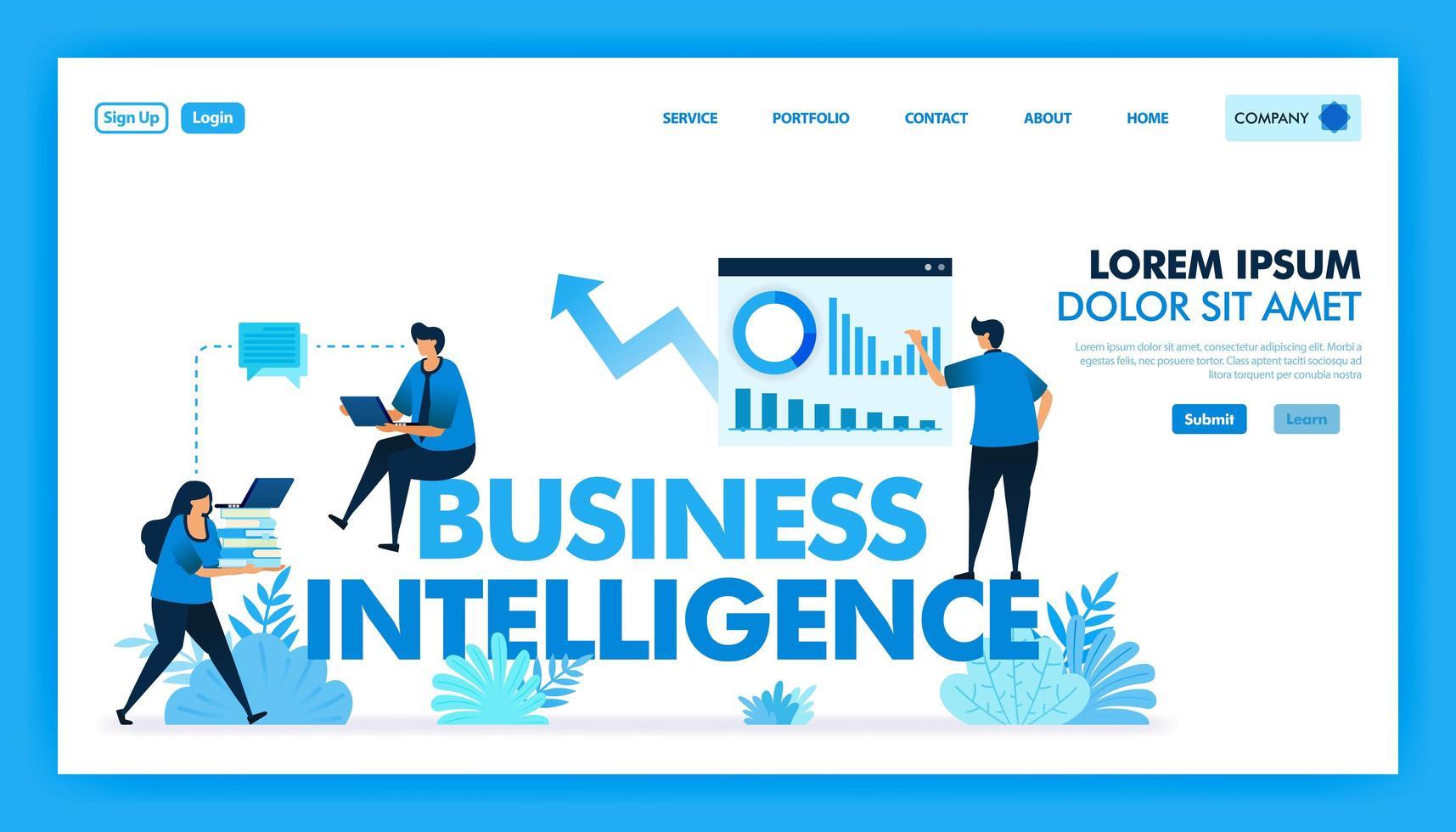bi ou business intelligence para facilitar empresas, negócios e indústria de tecnologia 4.0 com acesso a análise de dados, estratégia de planejador, iot, inteligência artificial. design plano de ilustração vetorial. vetor