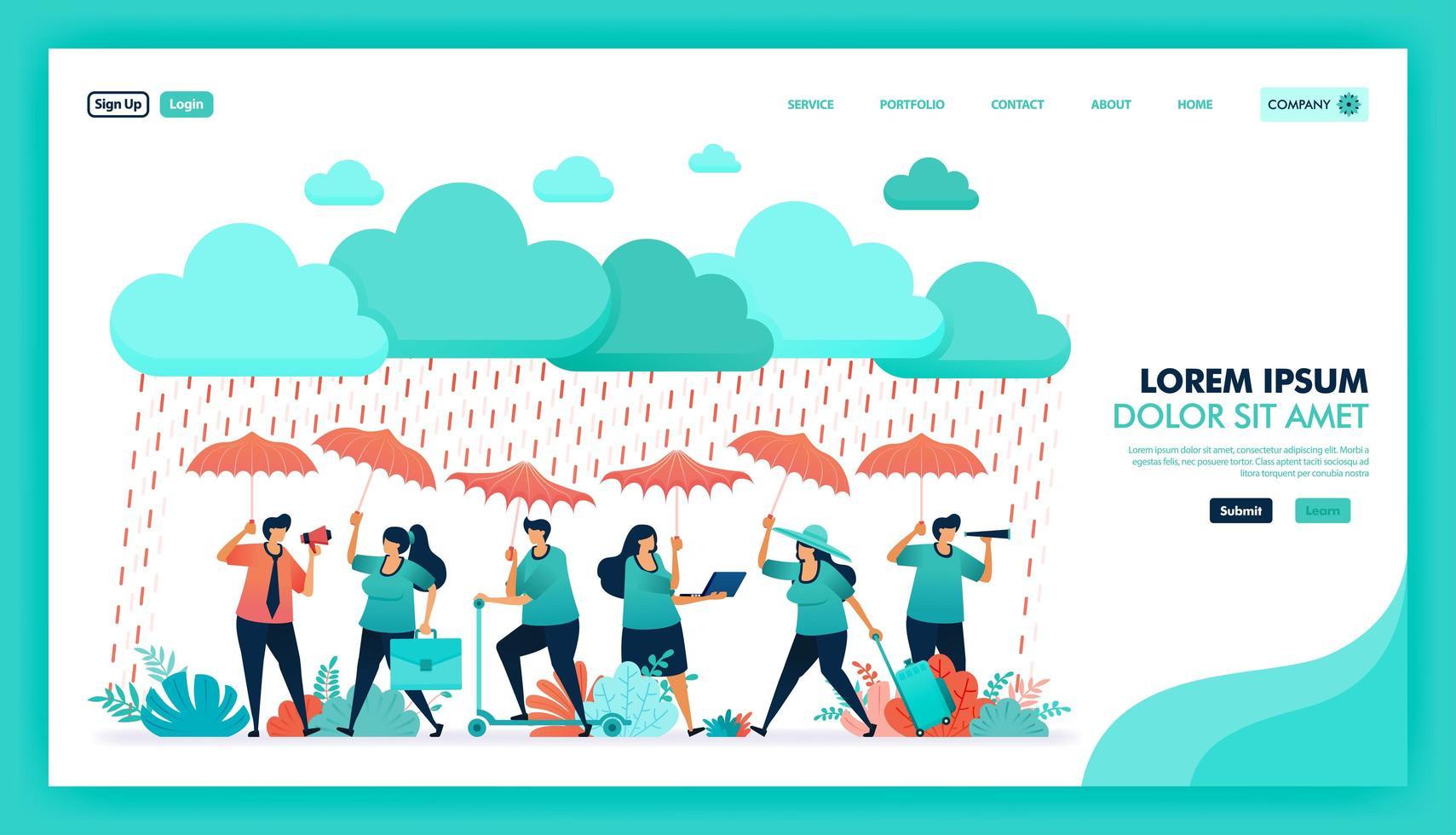 proteja-se e proteja-se com produto de seguro saúde de alta qualidade e garantia, as pessoas usam guarda-chuva para se proteger da chuva, programa de indicação de seguro. design plano de ilustração vetorial. vetor