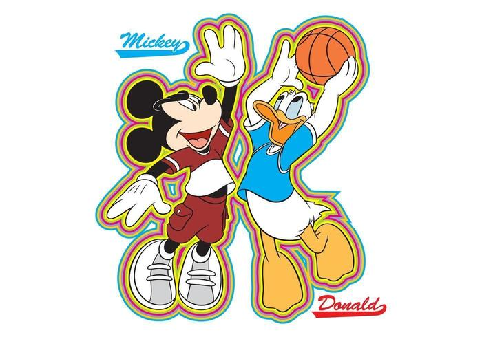 Mickey e donald basketball vetor