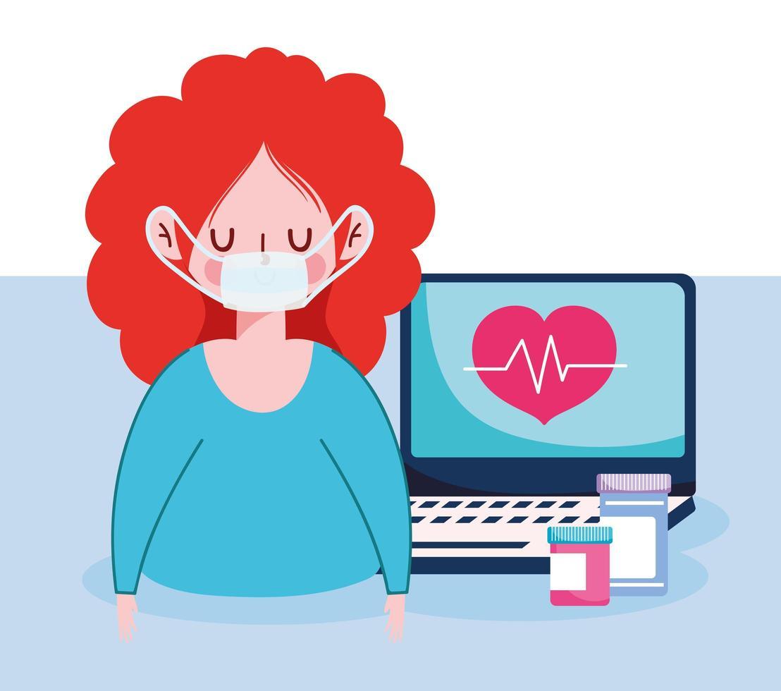 mulher com máscara de laptop e design de vetor de potes de remédio