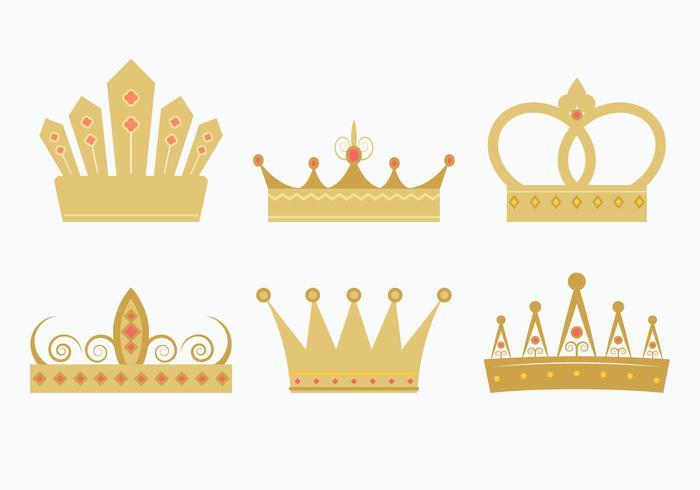 conjunto de coroa princesa vetor