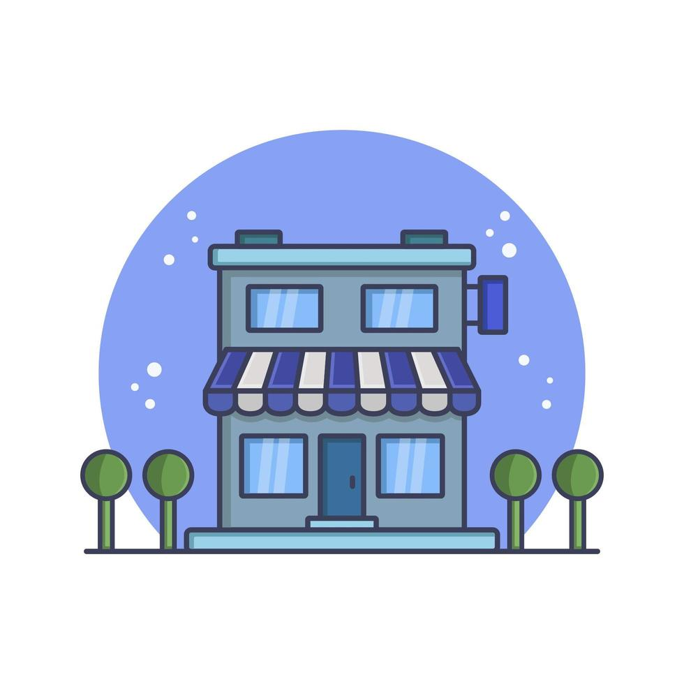 loja ilustrada em vetor em fundo branco