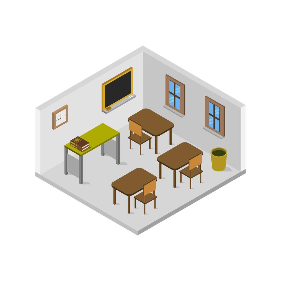 sala de aula isométrica em fundo branco vetor