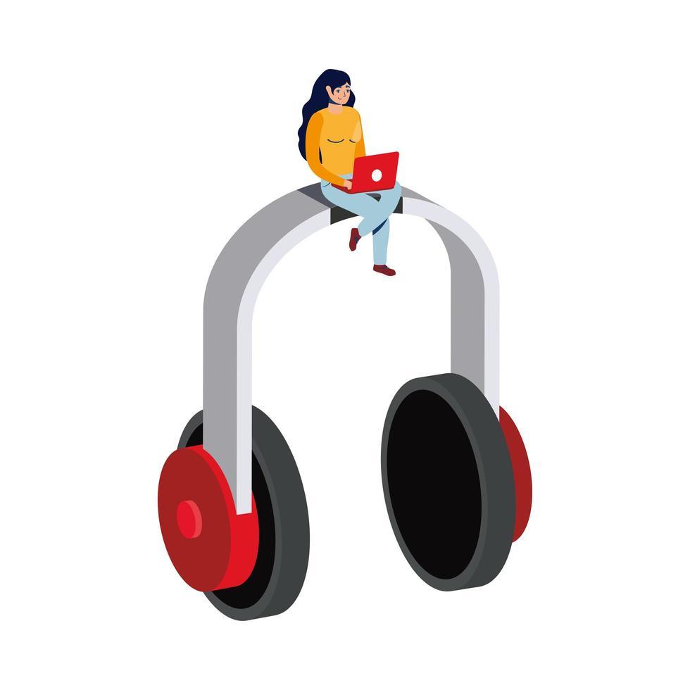 comércio eletrônico on-line de negócios com mulher usando laptop e fones de ouvido vetor