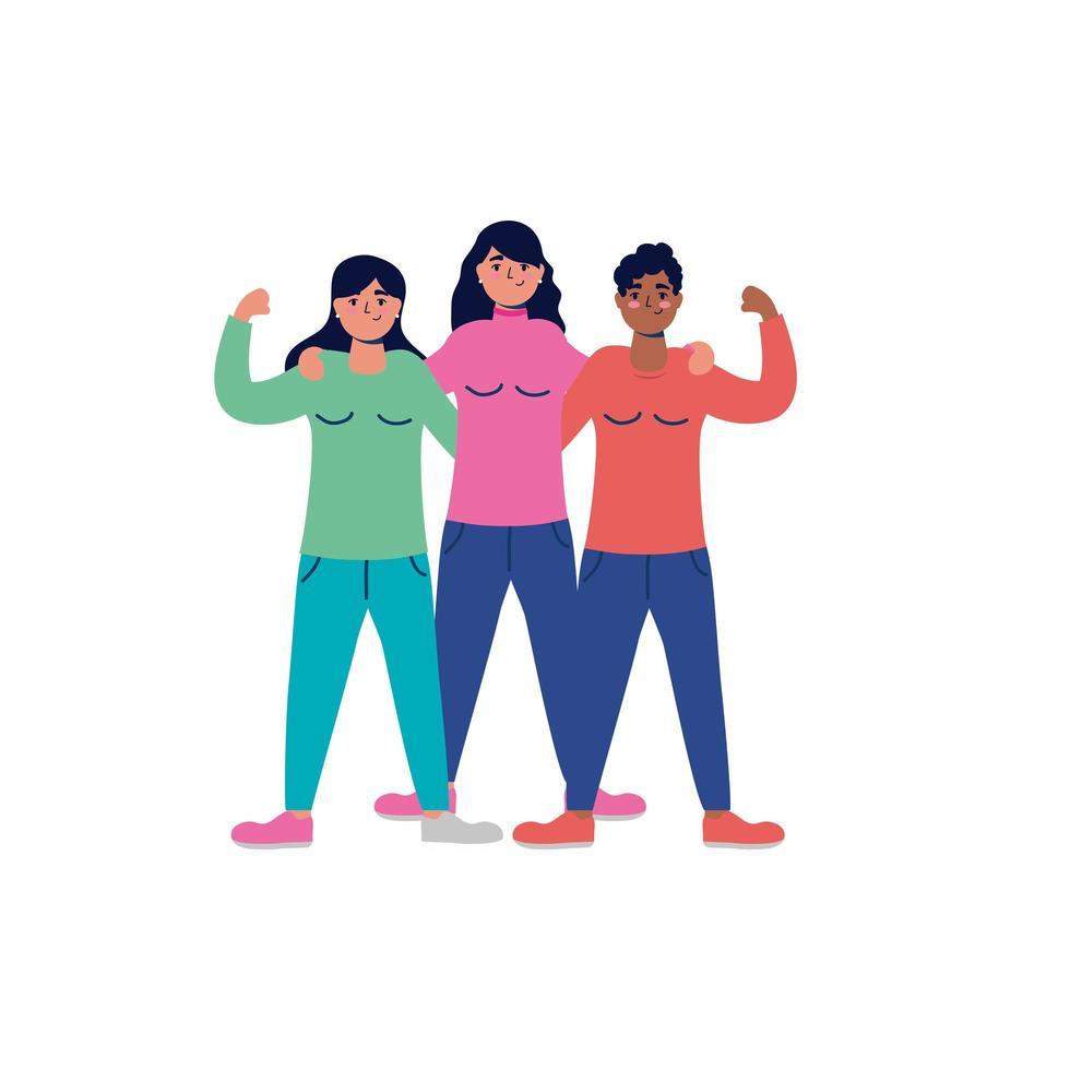 grupo de personagens mulheres jovens inter-raciais vetor