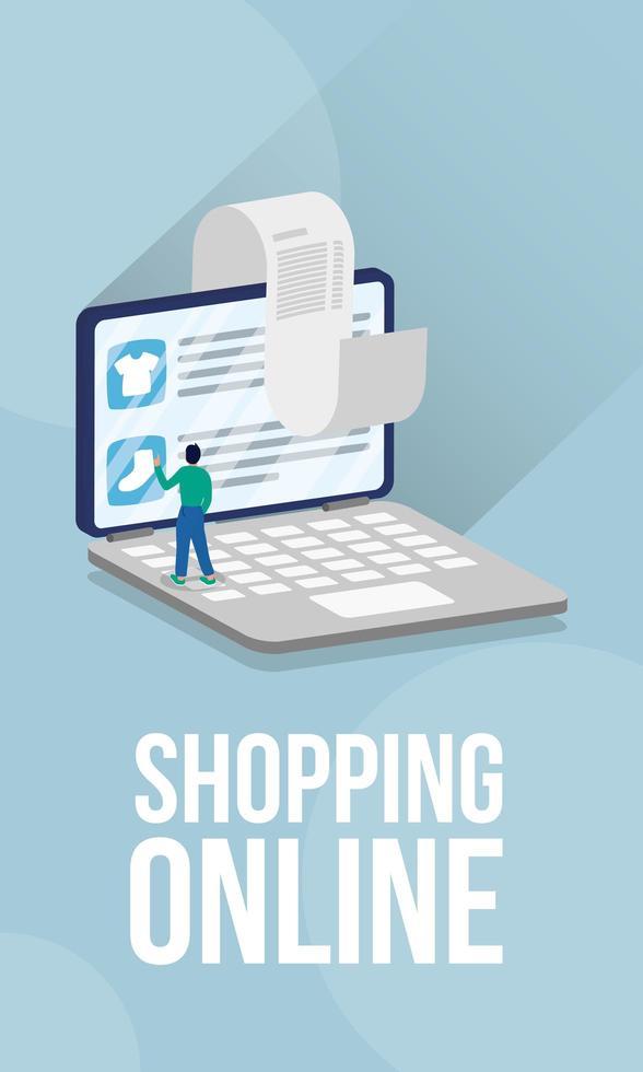 compras de comércio eletrônico on-line com o homem no laptop e recibo vetor