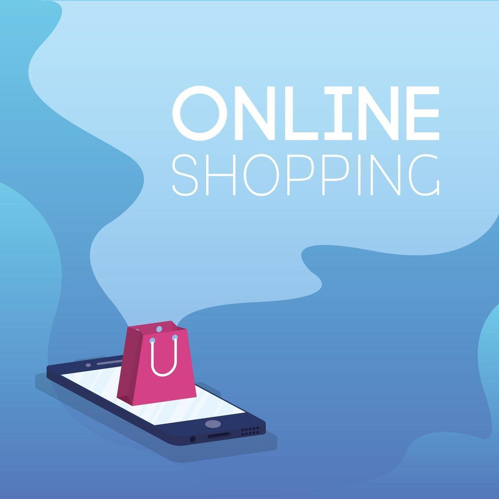 compras de comércio eletrônico online com saco de papel no smartphone vetor