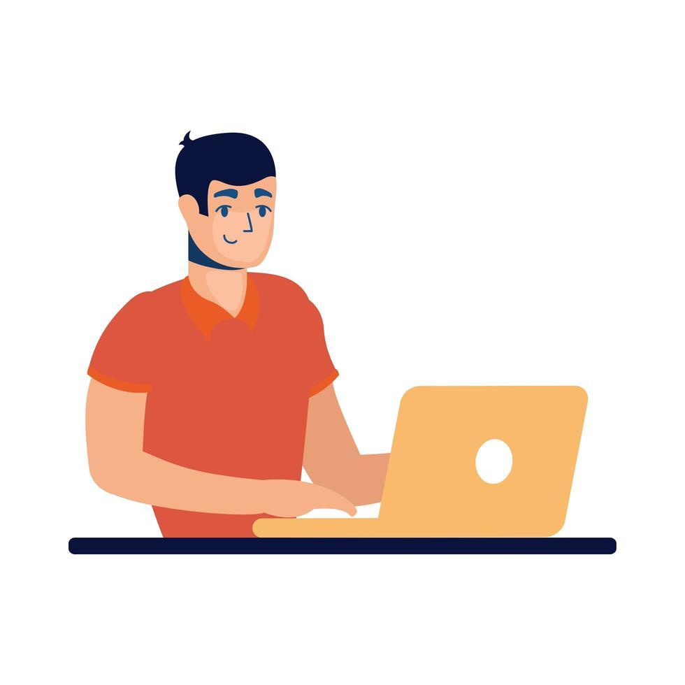 homem com desenho vetorial de laptop vetor