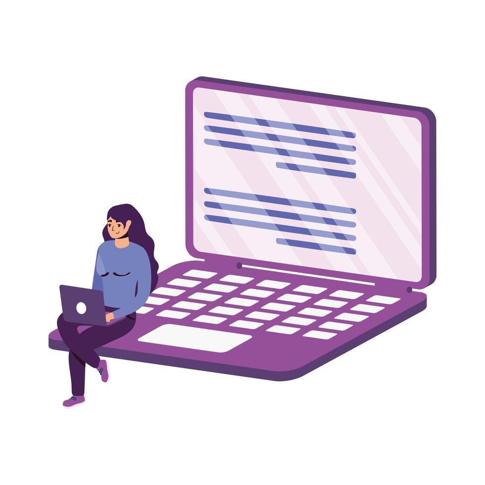 mulher com desenho vetorial de laptop vetor