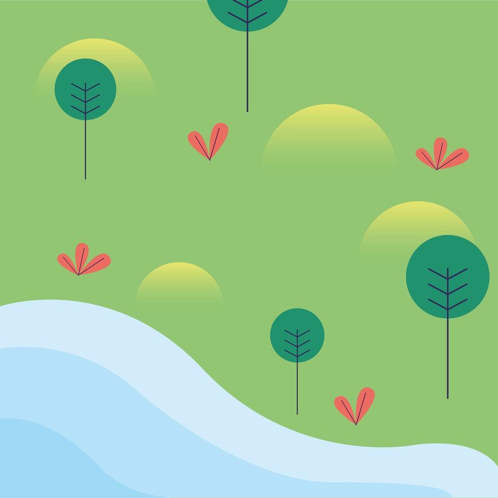 paisagem do parque com árvores e desenho vetorial de rio vetor