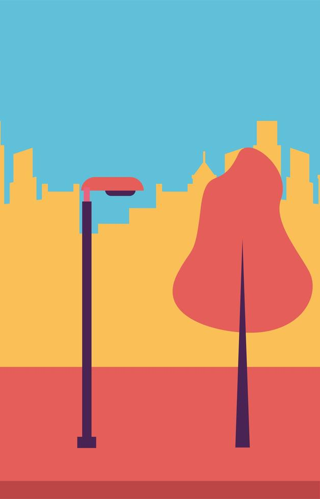 parque com árvore e lâmpada em frente ao desenho vetorial de edifícios da cidade vetor