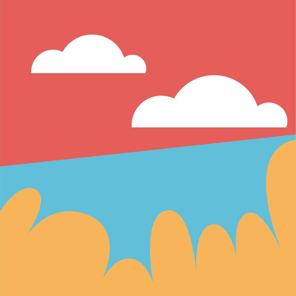 paisagem do parque com desenho vetorial de nuvens vetor