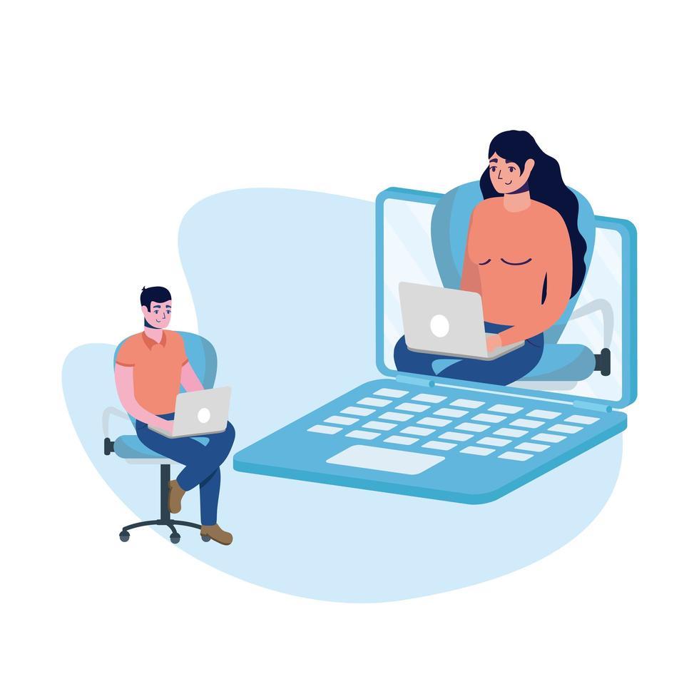 homem e mulher com desenho vetorial de laptop vetor