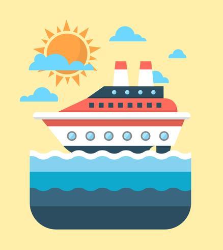 Barco de cruzeiro plano vetor