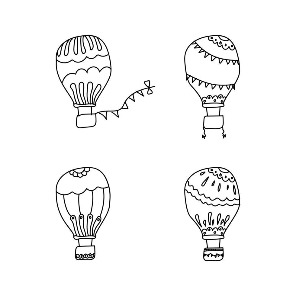 doodle coleção de balões de ar quente vetor