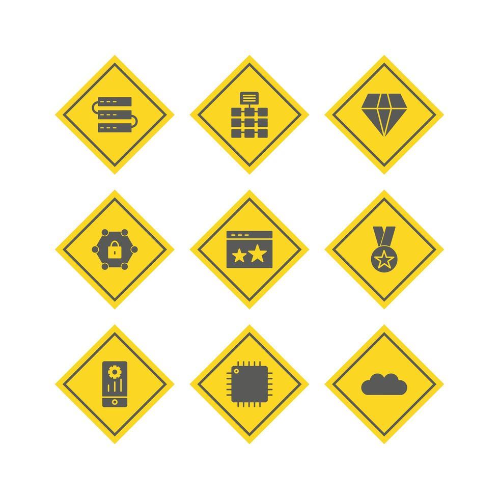 conjunto de ícones de otimização de mecanismo de pesquisa vetor