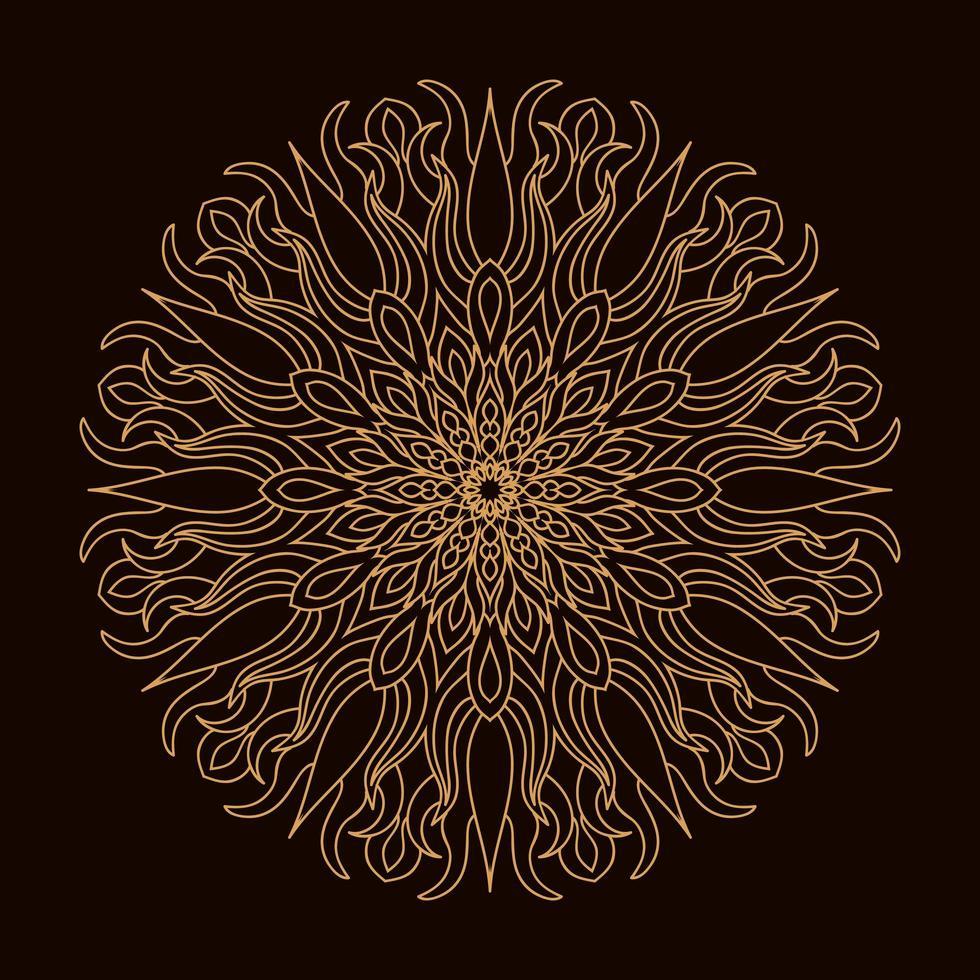 Mandala circular de luxo dourado. ornamento decorativo em estilo oriental étnico. página do livro para colorir. vetor
