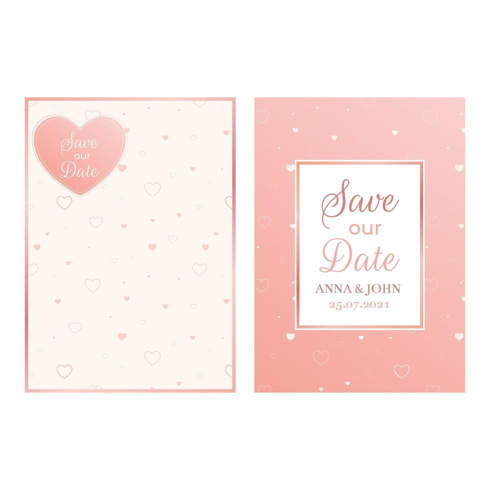 salvar o design de cartões de data, design de ímã, modelo de casamento vetor