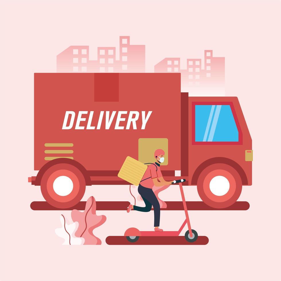 caminhão de entrega e homem em desenho vetorial de scooter vetor