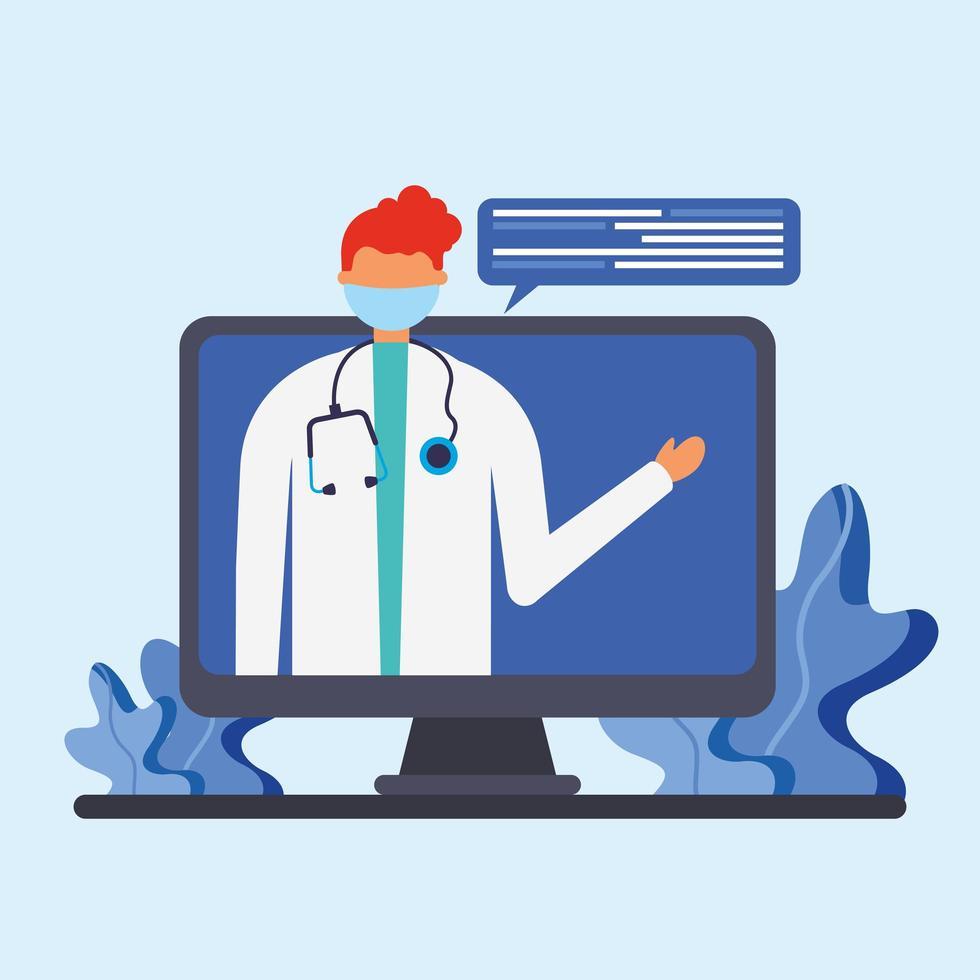 médico masculino online com máscara em desenho vetorial de computador vetor