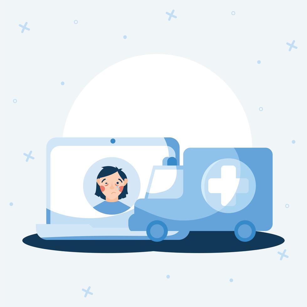 mulher doente com resfriado no laptop e desenho vetorial de ambulância vetor