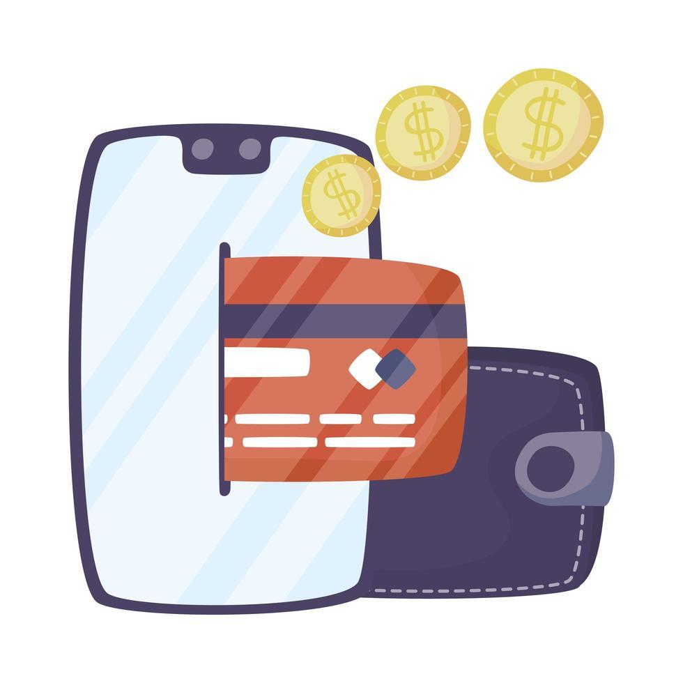 smartphone com carteira e cartão de crédito vetor