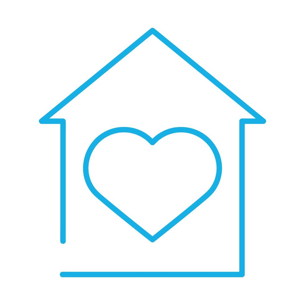 fachada de casa com coração fique em casa vetor